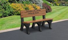 Victory Inlay Memorial Benches - Premium Wood Grain