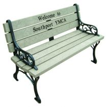 Classic Memorial Bench with Color Inlay