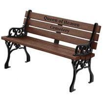 Classic Memorial Bench with Color Inlay - Premium Wood Grain